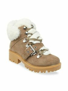 Edison Faux Fur-Lined Suede Ankle Hiker Boots