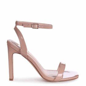 BOBBIE - Nude Patent Slim Heeled Sandal With Square Toe