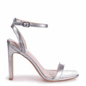 BOBBIE - Silver Metallic Slim Heeled Sandal With Square Toe