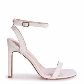 BOBBIE - White Lizard Slim Heeled Sandal With Square Toe