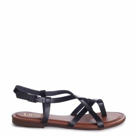 CAMILLO - Black Nappa Strappy Gladiator Style Sandal With Toe Post