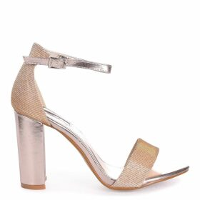 CANDICE - Gold Nappa & Glitter Barely There Block Heel
