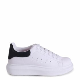 CHYNA - White Nappa Platform Trainer With Black Nappa Back