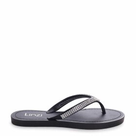CHER - Black Flip Flop With Diamante Straps