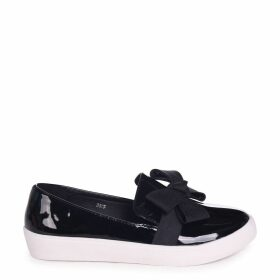 CHIC - Black Patent Classic Slip On Skater with Organza Bow Front Detail