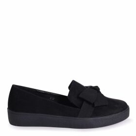 CHIC - Black Suede Classic Slip On Skater with Organza Bow Front Detail