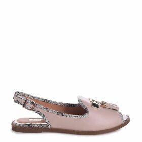 DAHLIA - Nude Nappa Sling Back Peep Toe Sandal With Snake Detail