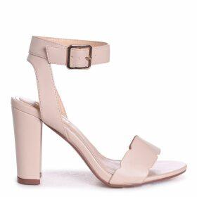 DARLA - Beige Nappa Open Toe Block Heel With Ankle Strap Wavey Front Strap Detail