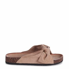 DEANA - Beige Suede Slip On Slider With Large Bow Front Strap