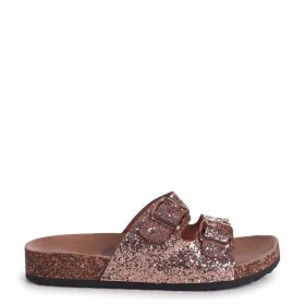 DENISE - Rose Gold Glitter Slip On Slider With Double Buckle Front Strap