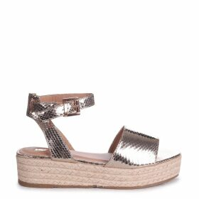 DESTINY - Gold Lizard Espadrille Inspired Two Part Flatform With Buckle Detail
