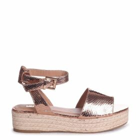 DESTINY - Rose Gold Lizard Espadrille Inspired Two Part Flatform With Buckle Detail
