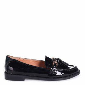 EVALEEN - Black Patent Classic Tassel Loafer