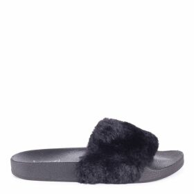 FLEUR - Black Faux Fur Sliders