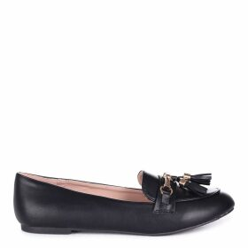 CATHY - Black Nappa Slip On Loafer With Gold Trim