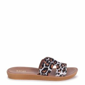 GREECE - Leopard Print Slip On Slider With Link Shaped Front Strap