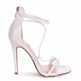 CORINNA - White Patent Strappy Caged Stiletto Heel With Ankle Strap