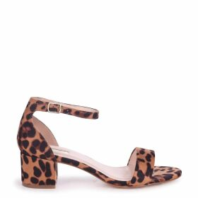 HOLLIE - Brown Leopard Print Barely There Block Heeled Sandal With Closed Back