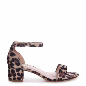 HOLLIE - Natural Leopard Print Barely There Block Heeled Sandal With Closed Back
