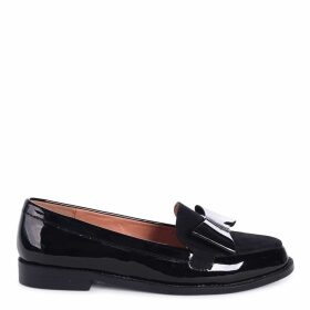 JAMIMA - Black Patent and Suede Classic Slip On Loafer With Tassel Detail