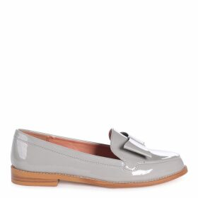 JAMIMA - Grey Patent Classic Slip On Loafer With Tassel Detail