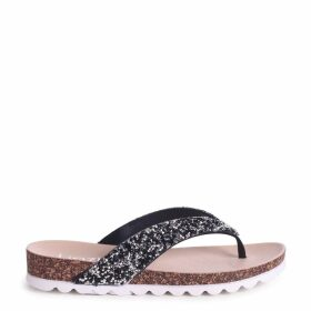 JANA - Black Footbed Style Flip Flop With Glitter Straps