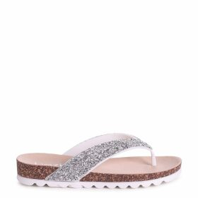 JANA - White Footbed Style Flip Flop With Glitter Straps