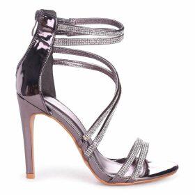 JODIE - Pewter Diamante Strappy Stiletto Heel