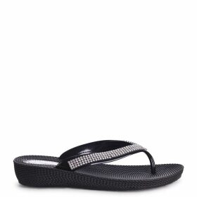 KAIA - Black Wedged Jelly Flip Flop With Diamante Embellished Strap