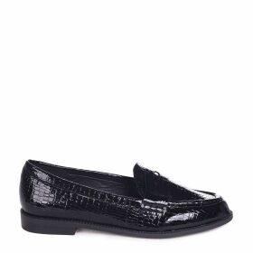 LATASHA - Black Faux Croc Leather Classic Slip On Loafer