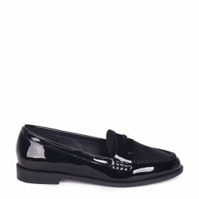 LATASHA - Black Patent & Suede Classic Slip On Loafer