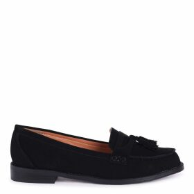 LAVERNE - Black Nubuck Classic Slip On Loafer With Tassel