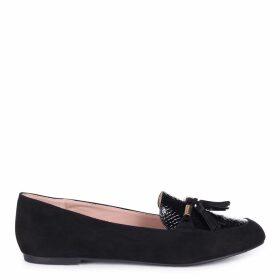 AGNELLA - Black Suede & Lizard Slip On Loafer With Gold Trim