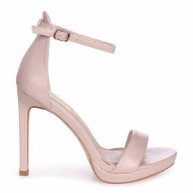 GABRIELLA - Nude Nappa Barely There Stiletto Heel With Slight Platform