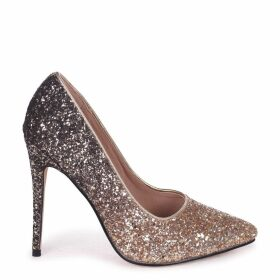 ASTON - Gold Glitter Ombre Effect Classic Pointed Court Heel
