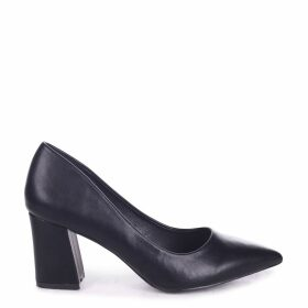 MAGIC - Black Nappa Block Heel Court Shoe