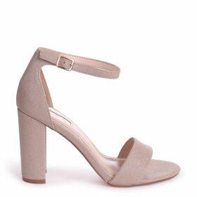 NELLY - Gold Glitter Suede Suede Single Sole Block Heel