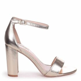 NELLY - Gold Metallic Single Sole Block Heel