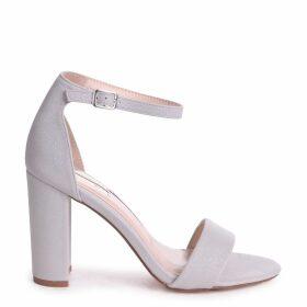 NELLY - Grey Glitter Suede Suede Single Sole Block Heel