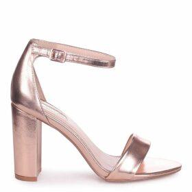 NELLY - Rose Gold Metallic Single Sole Block Heel