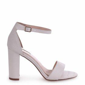 NELLY - White Croc Nappa Single Sole Block Heel