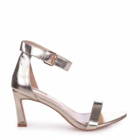 KIRA - Gold Metallic Small Heeled Barely There Sandal