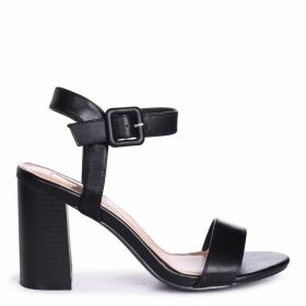 KATE - Black Nappa Open Toe Stacked Block Heel With Ankle Strap