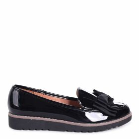 KATY - Black Patent Classic Slip On Loafer With Fabric Bow Detail