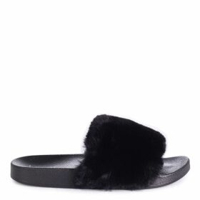 KENDALL - Black Faux Fur Sliders