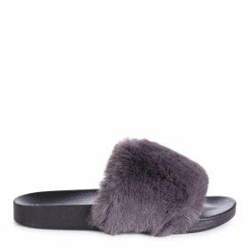 KENDALL - Grey Faux Fur Sliders
