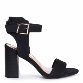 KERRY - Black Suede Open Toe Stacked Block Heel With Ankle Strap