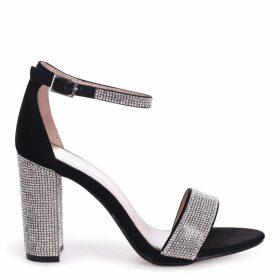 KESHA - Black Suede Block Heel With Diamante Detail