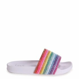 RAINBOW - White Slip On Slider With Multi-Coloured Rainbow Glitter Front Strap