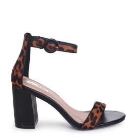 SESAME - Brown Leopard Suede Barely There Block Heeled Sandal